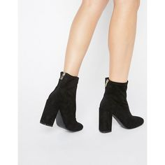 Miss Selfridge Faux Suede Sock Boot ($77) ❤ liked on Polyvore featuring shoes, boots, black, zip shoes, black block heel shoes, round toe boots, kohl shoes and black boots