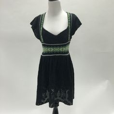Gray and green Free People sweater dress Good used condition.  100% acrylic.  Fair isle baby doll. Free People Dresses