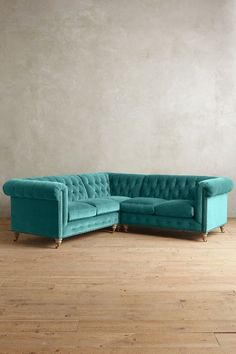 Velvet Lyre Chesterfield Sectional, Wilcox  #anthrofave