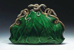 Circa 1968 Aloisia Rucellai evening bag, gold and platinum, translucent enamel, diamonds, and rubies