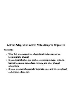 Contents:Table that organizes animal adaptations into two categories:  behavioral and physicalCategories are broken into smaller groups that include:  instincts, learned behaviors, camouflage, mimicry, and other physical adaptations.Graphic organizer allows students to take notes and list examples of each type of adaptation.Please follow me to be informed of product updates, revisions, and new product uploads.