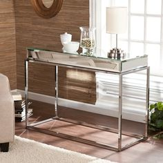 Upton Home Adelie Mirrored Sofa/ Console Table | Overstock.com Shopping - Great Deals on Upton Home Coffee, Sofa & End Tables