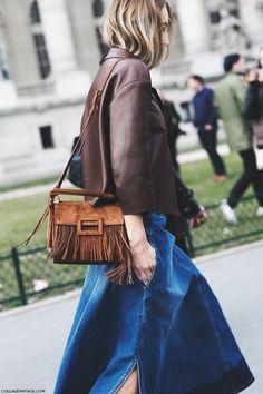 Jean skirt, fringe bag.