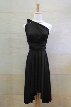 Bridesmaid Dress Infinity Dress Black Knee Length Wrap Convertible Dress Wedding Dress on Etsy, $35.00