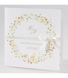 Faire-part de mariage champêtre  couronne de fleurs Motif Floral, Wedding Invitations, Weddings, Garden, Products, Invitations, Invites Wedding, Place Cards, Card Wedding