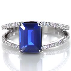 Design 2506 from Knox Jewelers features a 1.80ct emerald cut blue sapphire with a micro pave split shank for the band.