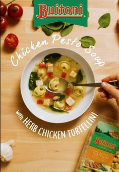 Chop, boil, and simmer your favorite garden vegetables with pesto and Buitoni Herb Chicken Tortellini to create a savory Chicken Pesto Soup. Finish with finely grated parmesan for an added pop of flavor.