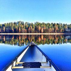 Canoeing on lake Saimaa.Finland