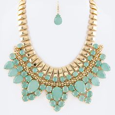 Gold Tone Crystal Layer Statement Necklace Set