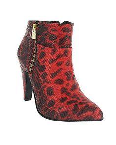 Marta Jonsson Red ankle boot with leopard pattern- Leopard Ankle Boots, Leather Ankle Boots, Ankle Booties, Low Boots, Leopard Pattern, Heeled Mules, Heels, Debenhams, Women