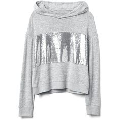 Softspun crop sequin hoodie ($40) ❤ liked on Polyvore featuring tops, hoodies, sequin embellished top, sequin hoodie, cropped hoodies, hooded pullover and sequin hoodies