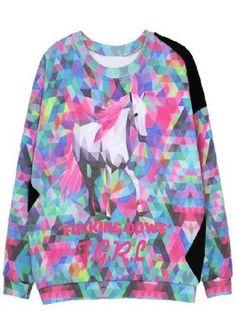 Galaxy Long Sleeve Star Letters Print Sweatshirt #SheInside