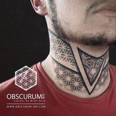 Best Neck Tattoos, Neck Tattoos Women, Head Tattoos, Cute Tattoos, Body Art Tattoos, Sleeve Tattoos, Geometric Throat Tattoo, Geometric Tribal Tattoo, Tribal Tattoos