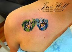 Watercolor tattoo - Eyes of tiger Tattooed by Javi Wolf