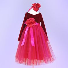 Long-Sleeved Berry Tulle Gown