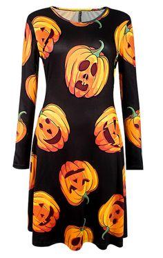 Halloween Pumpkin Print Long Sleeve Dress - Black - M