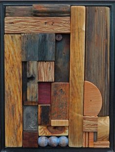 """Heather Patterson - Abstract wood relief mosaic """"Blue Balls"""""""