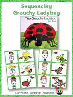 Sequencing Order with the Grouchy Ladybug Sequencing Cards, Sequencing Activities, Preschool Activities, Eric Carle, Grouchy Ladybug, Tree Study, Kindergarten Language Arts, Creative Curriculum, Spring Theme