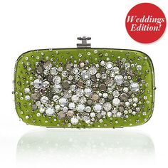 Oscar de la Renta Satin and Crystal Clutch