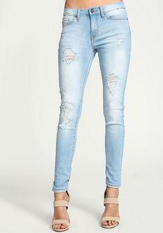 Light Wash Distressed Skinny Jeans - Denim - Bottoms - Clothes