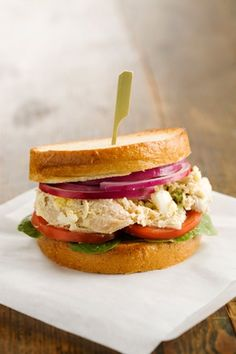 Chicken Salad Sandwich ~ Paula Deen - 1/4 teaspoon pepper   1 teaspoon Lemon-Pepper Seasoning  1/2 cup mayonnaise   2 teaspoons Paula Deen's Silly Salt  1 cup celery, chopped   2   celery stalks   2-3 tablespoons chicken stock   1   onion, quartered  Salt and pepper   1   3 lbs chicken   1   loaf of bread   1   purple onion  1   red tomato   1   bundle of spinach