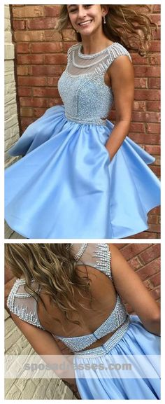 Open Back Blue Cap Sleeve Soop Short Cheap Homecoming Dresses Online, CM564 #homecoming #homecomingdresses