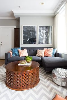 Orange Living Room Inspiration | Orange living rooms, Living room ...