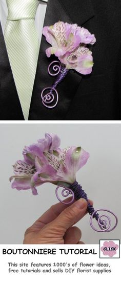 Wedding Flowers How to Make a Boutonniere - Carnation Alstromeria Step by Step Flower Tutorial. Buy professional florist supplies for DIY weddings. Floral Wedding, Diy Wedding, Wedding Bouquets, Wedding Ideas, Rustic Wedding, Spring Wedding, Wedding Trends, Wedding Ceremony, Dream Wedding