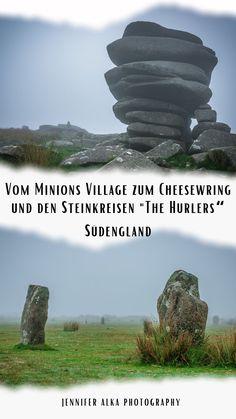 """In der Nähe vom Minions Village in Cornwall / Südengland / England gibt es zwei interessante Attraktionen / Sehenswürdigkeiten / Ausflugsziele. Die Steinformation """"The Cheesewring"""" und die Steinkreise """"The Hurlers"""". Der Weg führt durch eine wunderschöne Moorlandschaft / Moor. Bei meinem Besuch war es neblig und ich konnte tolle Nebelbilder machen. #nebel #minions #cornwall #südengland #england #uk #thehurlers #cheesewring #fog #nebelbilder Minions, Journey, Cornwall, London, Europe, Places Worth Visiting, Patagonia, Argentina, Traveling With Children"""