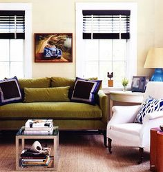 living room with olive green couch