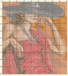 Part 02 - Lady in red (total 3 parts) Counted Cross Stitch Patterns, Cross Stitch Charts, Shadow Art, Chart Design, Girly, Stitch 2, Hobbies And Crafts, Cross Stitching, Embroidery Stitches