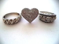 Lot of three rings sterling silver size 7 hearts *pretty vintage rings*