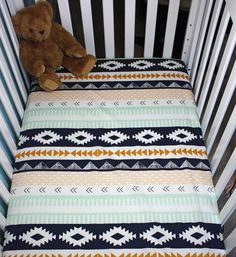 I just like this pattern. Can I get it in adult bedding sizes?? Arid Horizon Fitted Crib Sheet / Gender Neutral Fitted Crib Sheet /