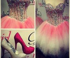 Short prom dresses cute ball gown with sweetheart rhinestones beaded bodice tulle white and pink corset fitted homecoming dresses for teens - Thumbnail 5 Dama Dresses, Dresses Short, Pink Prom Dresses, Tulle Prom Dress, Dresses For Teens, Pretty Dresses, Homecoming Dresses, Beautiful Dresses, Evening Dresses