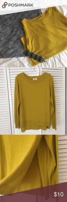 Mustard-lime side slit sweater Cute, edgy sweater in very good condition. Has very slight piling. Size medium but could also fit someone who is a large because the material is stretchy and the side splits give it a looser fit. Old Navy Sweaters Crew & Scoop Necks