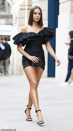 Turning heads: Olivia Culpo showed off her sunkissed glow as she stepped out in Paris in a... Sexy Outfits, Sexy Dresses, Short Dresses, Summer Outfits, Black Girl Fashion, Look Fashion, Fashion Beauty, Dress Fashion, Fashion Shoes