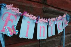 Pretty butterfly garden tea party banner