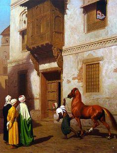 Jean-Léon Gérôme. Vendedor de caballos en El Cairo (c. 1867)    ::::    PINTEREST.COM christiancross    ::::