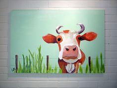 Large Cow Painting Original Acrylic on Canvas 24x36 by Logan Berard