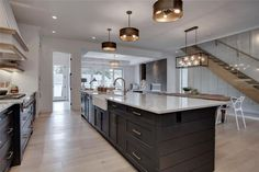 The Modern Farmhouse Kitchen of My Dreams - Styled to Sparkle - Trickle Creek Homes Magnolia Modern Farmhouse Kitchen, Butcher Block Counters, Marble Countertop, Wo - Kitchen Decor, Kitchen Style, Kitchen Island With Sink, Modern Farmhouse Kitchens, Kitchen Design, Farmhouse Kitchen Island, Kitchen Island Design, Kitchen Remodel, Kitchen Layout