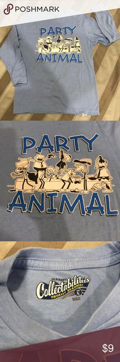 NWOT- BOYS OLD NAVY T-SHIRT Old Navy Colllectabilitees Totally Classic long sleeve t-shirt. Light blue with 'Party Animal logo'. Material is 50% Cotton and 50% Polyester. Old Navy Shirts & Tops Tees - Long Sleeve