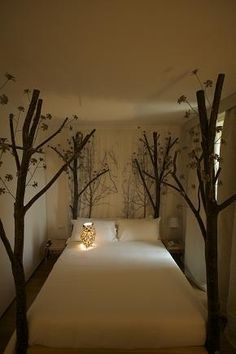 "bedroom with ""trees"" as posters"