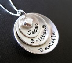 Domed Hand Stamped Personalized Sterling Silver Necklace for Mom - Three Pendants. $52.00, via Etsy.