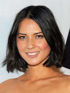 """Choppy """"Olivia Munn's style has long layers chopped into the ends,"""" says Fugate. With short front pieces, this cut is great for slimming a round face and works for all textures, providing you keep the layers long."""