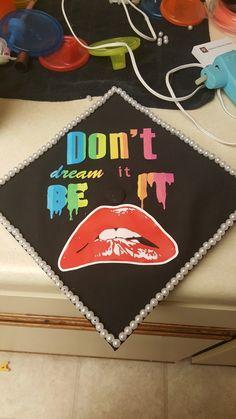 Rocky horror picture show graduation cap - Decoration For Home Graduation Cap Designs, Graduation Cap Decoration, Grad Cap, Graduation Caps, College Graduation, Graduation Ideas, Horror Party, Cap Decorations, Rocky Horror Picture Show