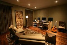 not these colors, but similar set up? we want a sitting area as well as a place for a desk and instruments.