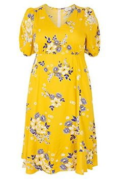 0970a91e7b88 Yours Women s Plus Size London Floral Tea Dress Plus Size 16 to 32 Size 24  Yellow