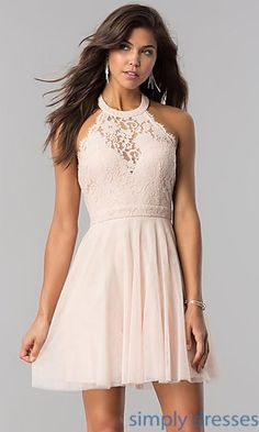 High-Neck short halter party dress for homecoming Semi Dresses, Hoco Dresses, Halter Dresses, Party Dresses, Halter Dress Short, Teen Homecoming Dresses, Formal Dance Dresses, 80s Prom, Chiffon Dresses