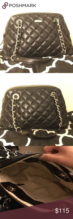 Kate Spade Quilted Bag Black sold leather with a beige interior. Gold accents. Zippered top, two slide pockets on the inside. A zippered pocket on the inside. Bag is like new, shows no wear and tear. Bottom of bag is 13 inches, height of bag is about 10 inches, side bottom of bag measures out to about 4.5 inches. kate spade Bags