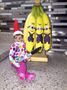Elf on the Shelf banana minions! Hot glue googley eyes, use silver, black and blue sharpies to draw the minions :)